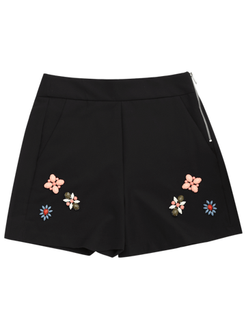 Trendy High Waisted Beading Patched Shorts