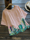 Trendy Round Collar Cacti Embroidered Blouse