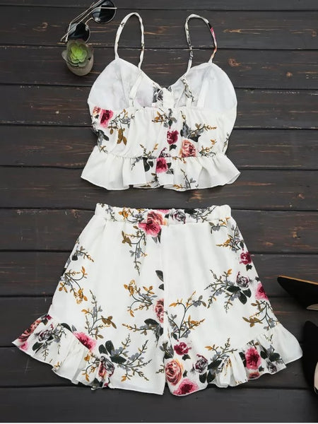 Floral Print Ruffled Cami Two Piece Set