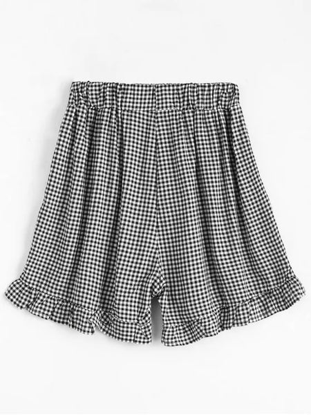 Trendy High Waisted Ruffles Plaid Shorts