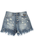 Fashion Ripped Cutoffs Butterfly Embroidered Denim Shorts