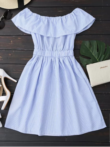 Stunning Open Back Striped Off The Shoulder Dress