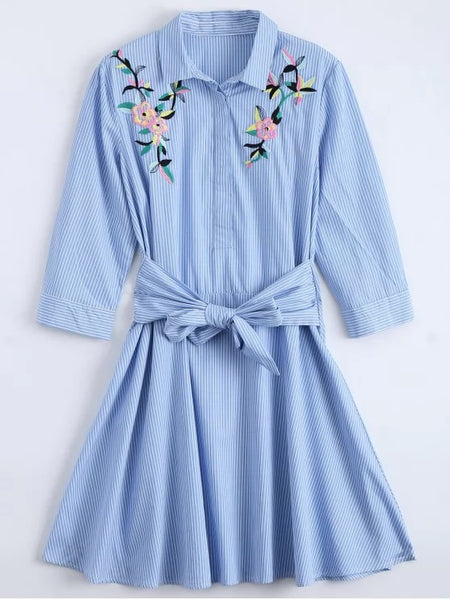 Gorgeous Tied Floral Embroidered Striped Shirt Dress
