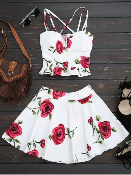 Floral Bralet Crop Top and Mini Skirt