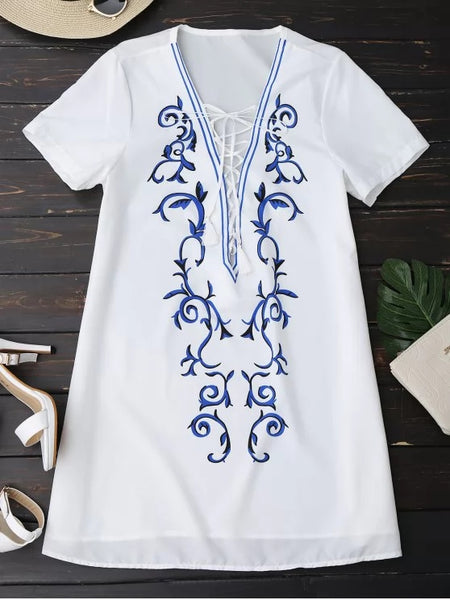 Stunning Printed Lace Up Plunging Neck Dress