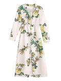 Pretty Floral Long Sleeves Open Front Coverup Dress