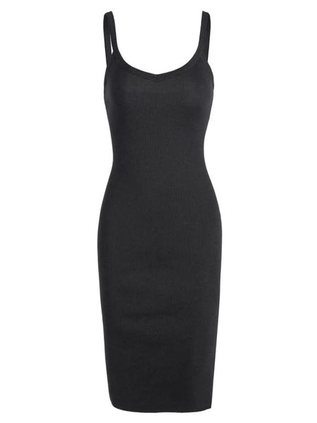 Cheap Side Slit Knitted Cami Sheath Dress