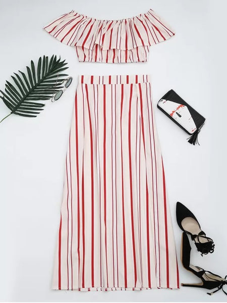 Separate Striped Top and Slit Skirt Suit