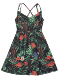Gorgeous Floral Leaves Print Open Back Cami Dress