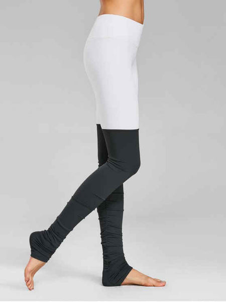 Fun Color Block Ruched Overlength Sporty Leggings