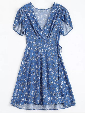 Cute Tiny Floral Plunging Neck Wrap Dress
