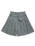 Fashion Ruffles Belted Wide Legged Shorts
