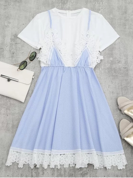 Stunning Lace Panel Striped Faux Twin Set Dress
