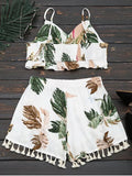 Cropped Ruffles Tropical Top and Tassels Layered Shorts