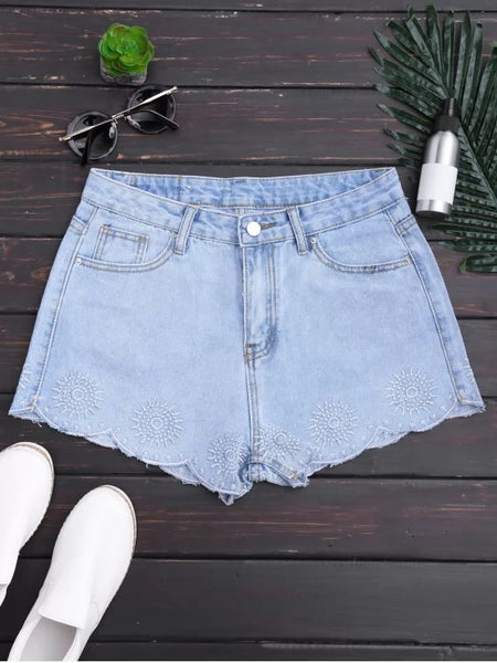 Trendy Embroidered Scalloped Denim Shorts