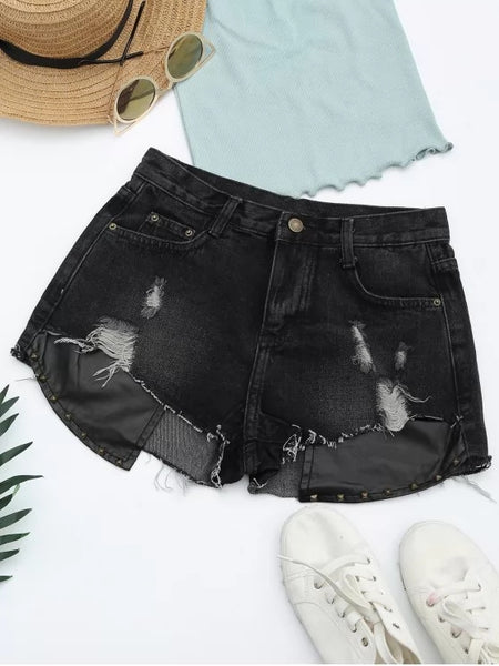 Fashion Ripped Cutoffs PU Panel Denim Shorts