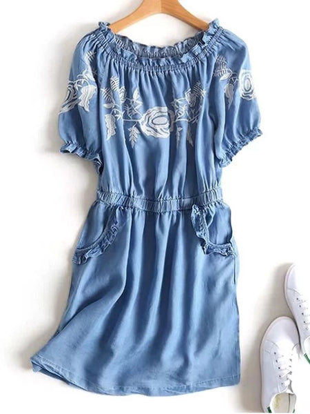 Stunning Off Shoulder Ruffles Embroidered Casual Dress