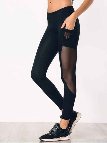 Gorgeous See Through Pocket Mesh Panel Activewear Leggings