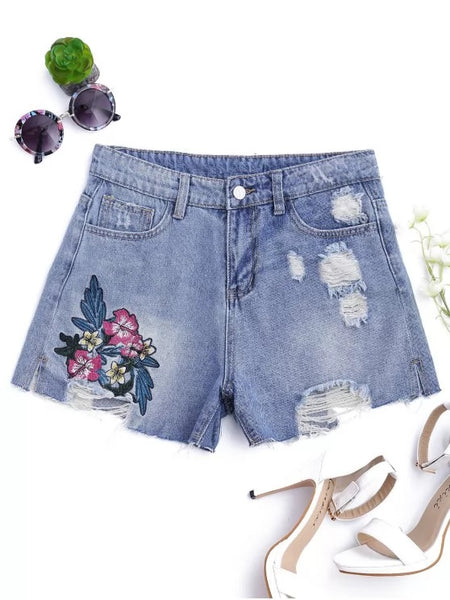 Trendy Floral Embroidered Destroyed Cutoffs Denim Shorts