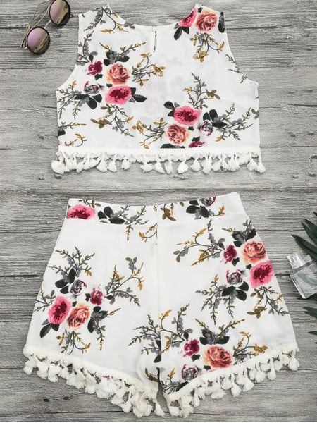 Floral Print Beach Cover Up Shorts Set