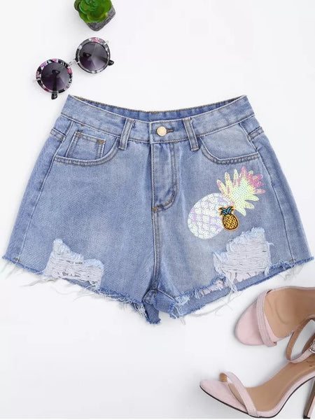 Trendy Patched Pineapple Sequined Ripped Denim Shorts