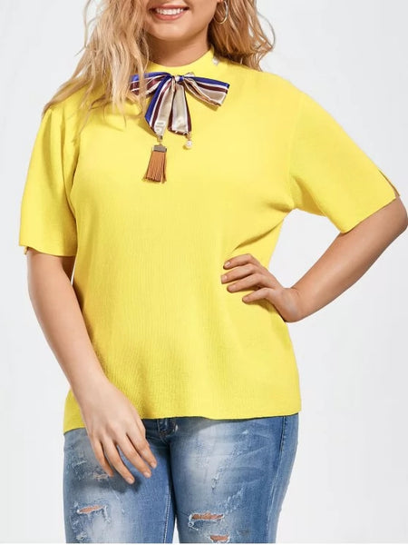 Fashion Bowknot Knitted Plus Size Top with Silk Scarf