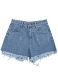 Trendy Cufoffs Heart Embroidered Denim Shorts