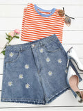 Trendy Ripped Daisy Embroidered Denim Shorts