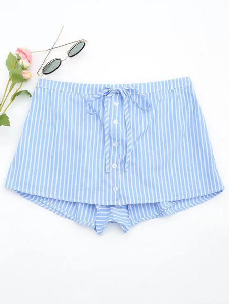 Trendy Drawstring Button Up Striped Skorts