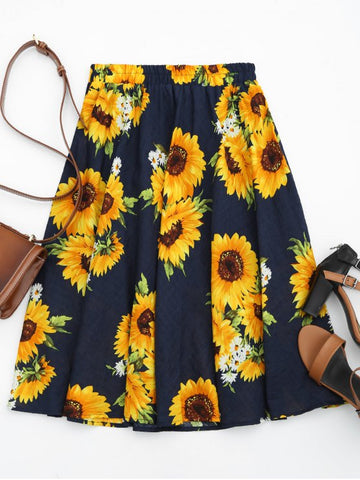 Fashion Sunflower Print High Waist Skirt