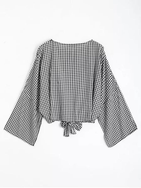 Fashion Round Neck Plaid Front Tied Blouse