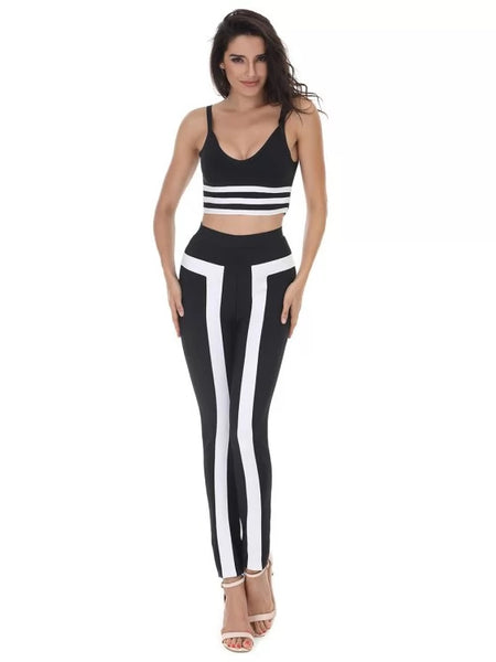 Striped Cami Crop Top and Pants SetV