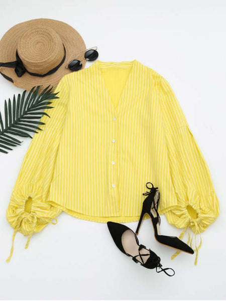 Stunning Drawstring Sleeve Button Up Striped Blouse