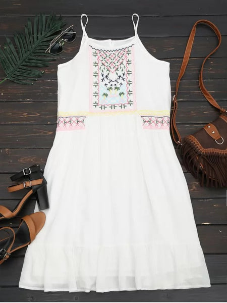 Fashion Embroidered Ruffles Midi Dress