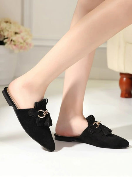 Gorgeous Pointed Toe Flat Heel Tassels Slippers