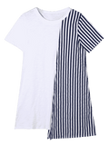 Trendy Striped Asymmetrical Mini Tee Dress