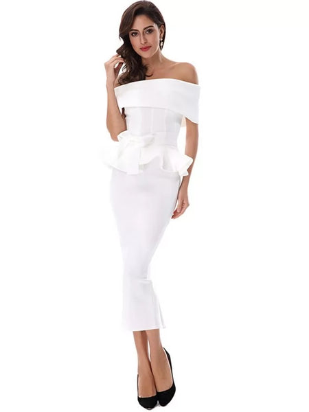Ruffles Belted Top and Slit Skirt Set