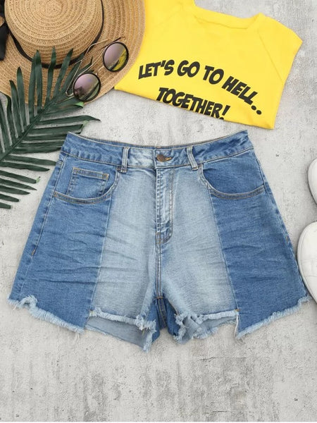 Trendy Cutoffs Asymmetrical Denim Shorts