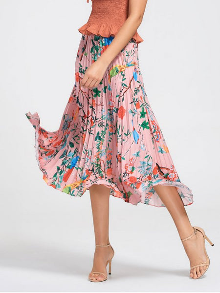 Fashion Floral Maxi Pleated Skirt