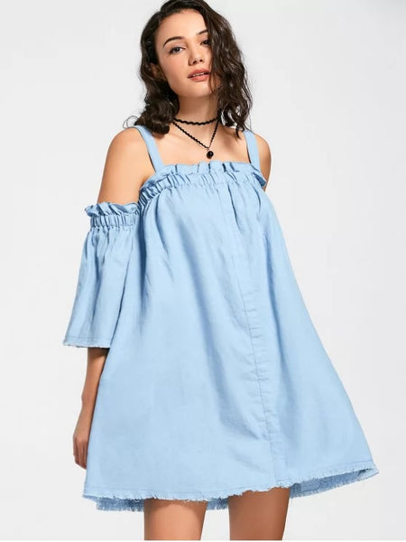 Trendy Square Collar Ruffles Frayed Hem Dress