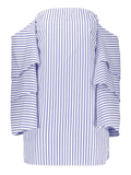 Trendy Tiered Flare Sleeve Striped Dress