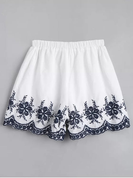Trendy Floral Embroidered High Waisted Shorts