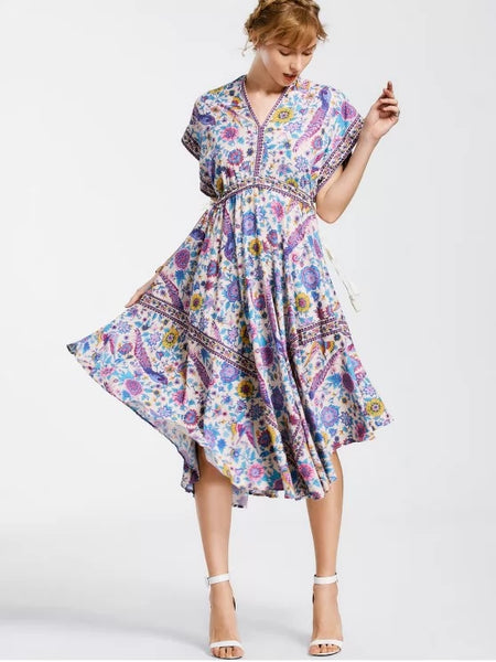 Fun Empire Waist Batwing Floral Midi Dress