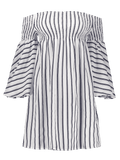 Trendy Off The Shoulder Flare Sleeve Striped Dress