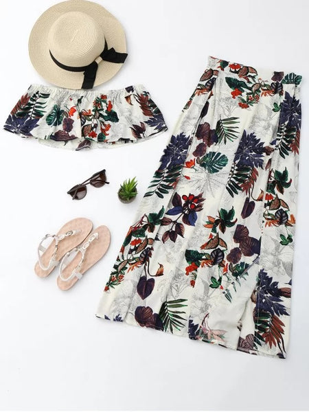 Separate Printed Top with Slit Skirt Suit