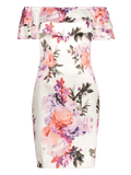 Stunning Floral Overlay Off Shoulder Bodycon Dress