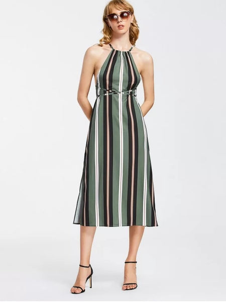 Beautiful Strappy Stripes Backless Midi Dress