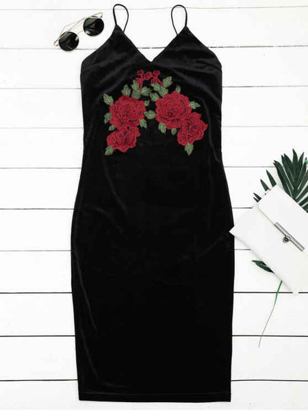 Fashion Floral Embroidered Sheath Slip Dress