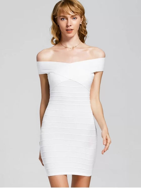 Cute Knitted Off Shoulder Bandage Dress