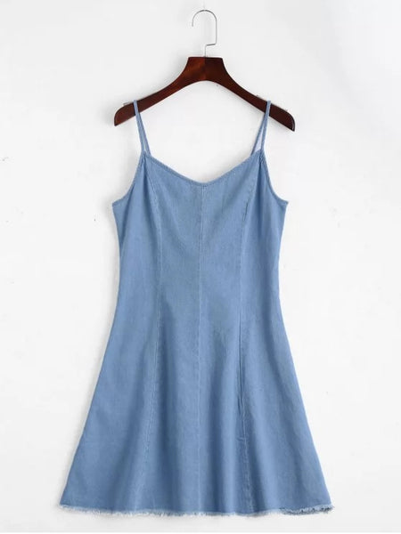 Chic Back Lace Up Cami Denim Dress